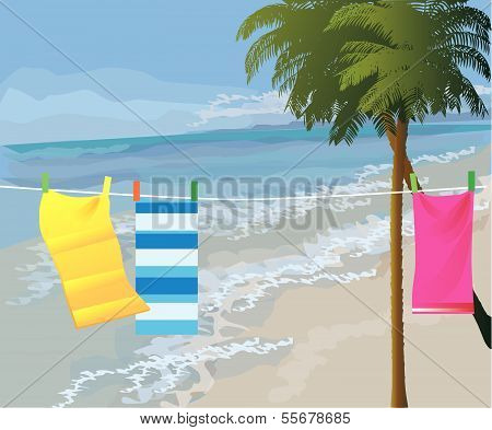 towels drying on beach