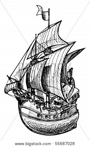 Vector drawing of sailing ship stylized as engraving. poster
