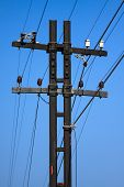 High voltage poles,Mono pole transmission line tower,The power energy in the city poster