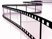 3d image of film strip on white poster