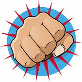 Vintage Pop Art Punching Fist. Great illustration of pop Art comic style punching directly at you. poster