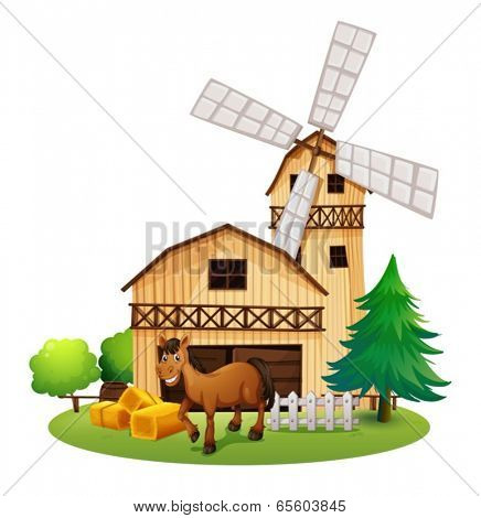Illustration of a horse outside the barnhouse at the farm on a white background