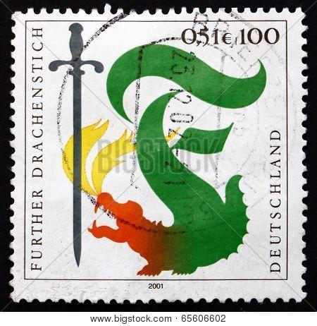 Postage Stamp Germany 2001 Furth Dragon Lancing Festival