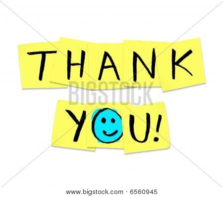 The words Thank You written on yellow sticky notes poster