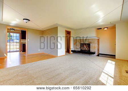 Empty Room With Fireplace