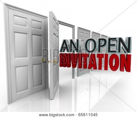 An Open Invitation words coming out an opening door welcoming people customers