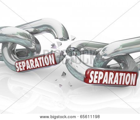 Separation word on chain links breaking apart dividing pulling away