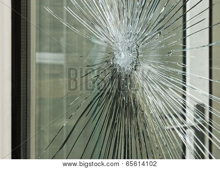 Smashed Glass Window Pane