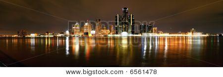 Night Panorama of Detroit Skyline from Windsor, Ontario