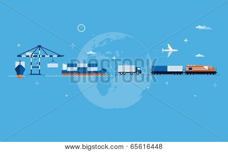 Vector flat global transportation concept illustration.