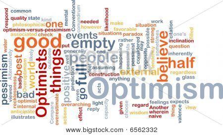 Word cloud concept illustration of optimism optimist poster