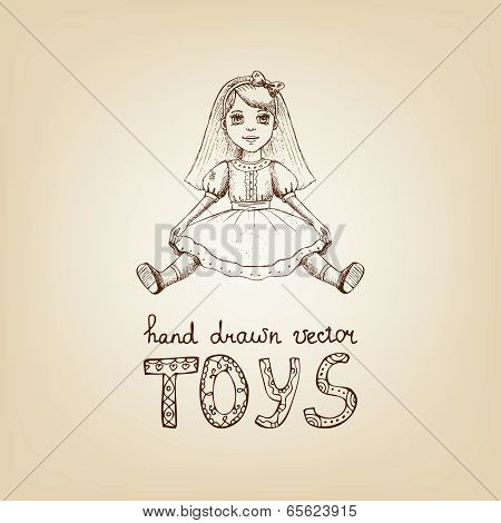 Hand-drawn illustration of a vintage toy doll