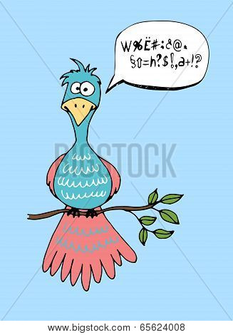Cute cartoon bird with a speech bubble