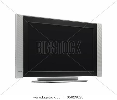 Flatscreen Tv In Grey And Black Tone Isolated On White