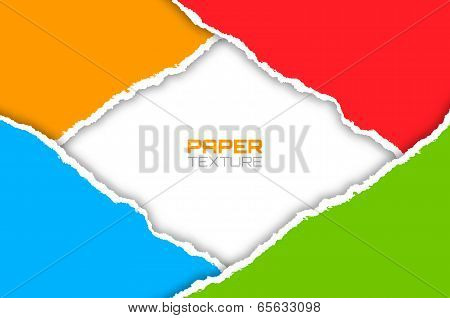Frame of colorful bright lacerated papers