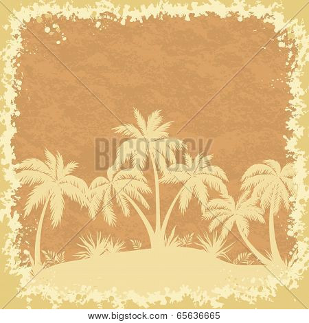 Tropical palms trees and grass silhouettes