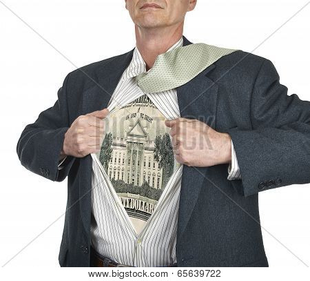 Businessman Showing Twenty Dollar Bill Superhero Suit Underneath His Shirt