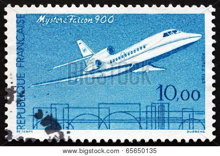 Postage Stamp France 1965 Jet Plane, Mystere Falcon-900