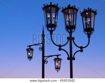Two Wrought Iron Street Lanterns