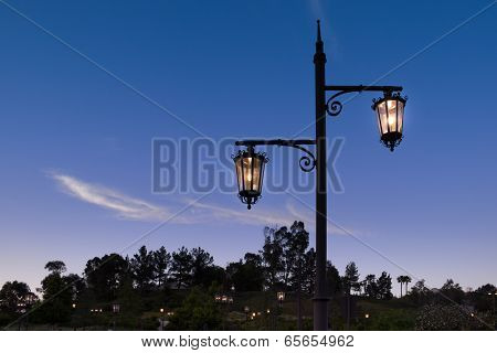 Glowing Wrought Iron Street Lantern