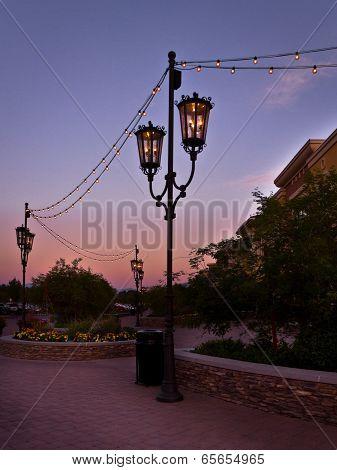 Wrought Iron Street Lanterns And Light Strings