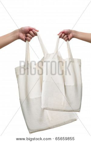 woman holding Fabric bag