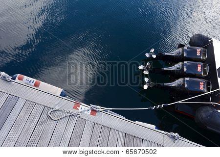 Motorboat engines.