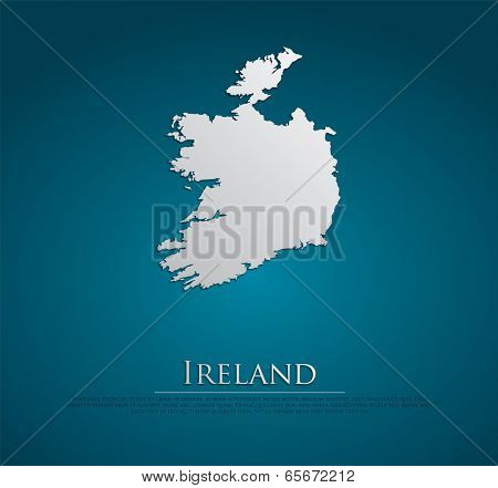 vector Ireland Map card paper on blue background, high detailed
