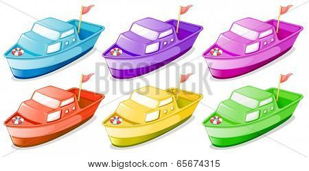 Illustration of the six colorful boats on a white background