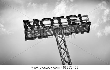 Motel Sign in black and white
