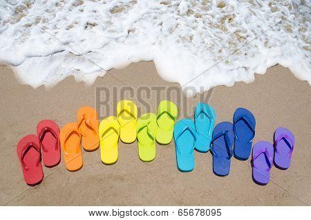 Color Flip Flops By The Ocean