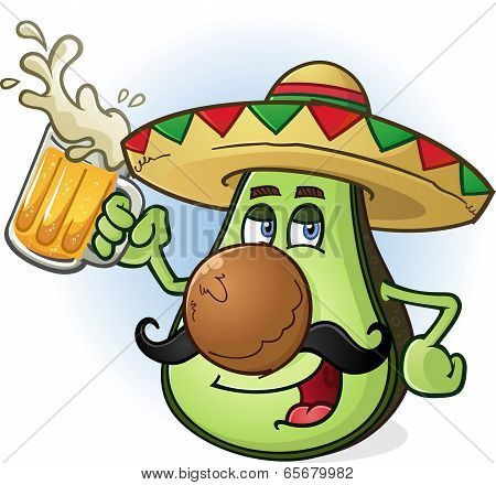 Avocado Mexican Cartoon Character Drinking Beer