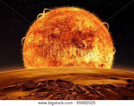 Alien Planet fantasy space scene of a sun