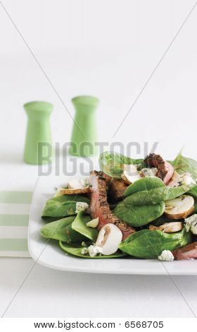 Steak, Spinach And Mushroom Salad