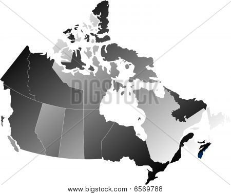 Canada with Provinces, Shades of Shaded Blue