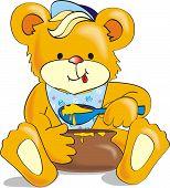 Cute cartoon bear eating honey. Vector Illustration poster