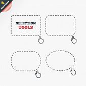 Selection rectangles. Selection dashed lines with mouse cursor. Arrow pointer. Ellipse. Vector poster