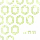 Vector abstract green fabric textured honeycomb cutout corner frame pattern background poster