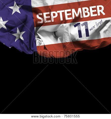 9/11 Patriot Day, September 11 waving flag on black background