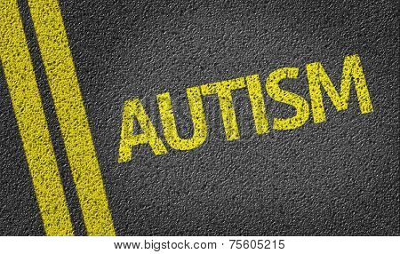 Autism written on the road