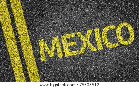 Mexico written on the road