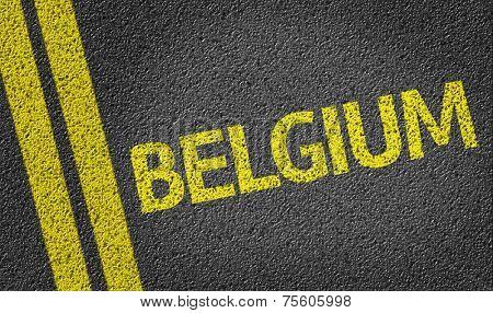 Belgium written on the road