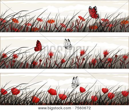 Black-White-Red Butterfly Banner