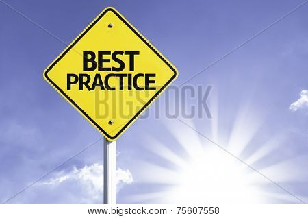 Best Practice road sign with sun background