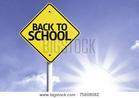 Back to School road sign with sun background