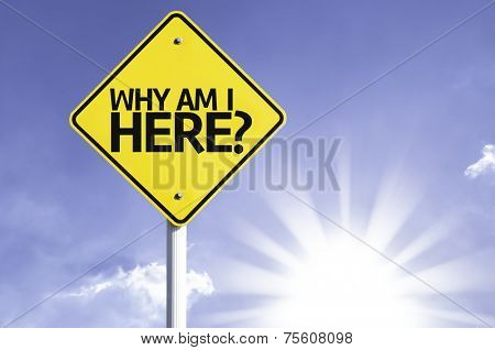 Why Am I Here? road sign with sun background