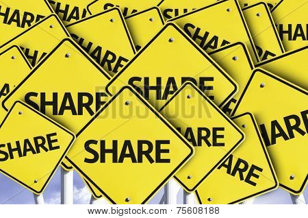 Share written on multiple road sign