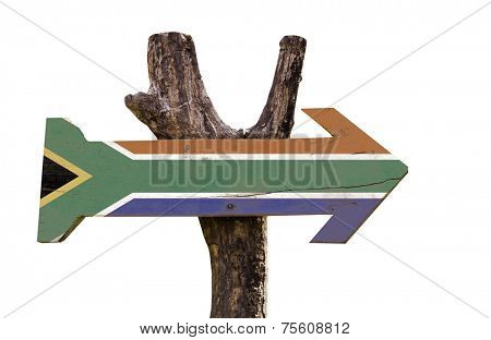 South Africa wooden sign isolated on white background