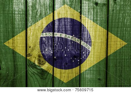 Brazil flag on wooden background