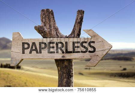 Paperless wooden sign with a deforestation on background